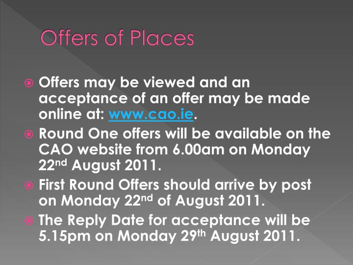Offers of places