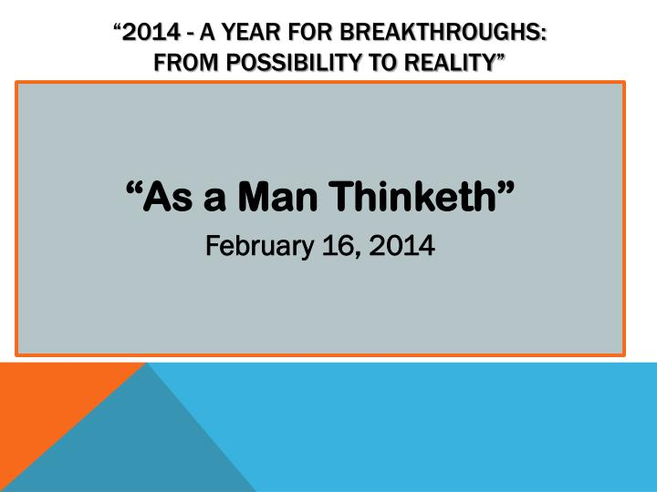 2014 a year for breakthroughs from possibility to reality n.