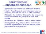 strategies de durabilite post aap