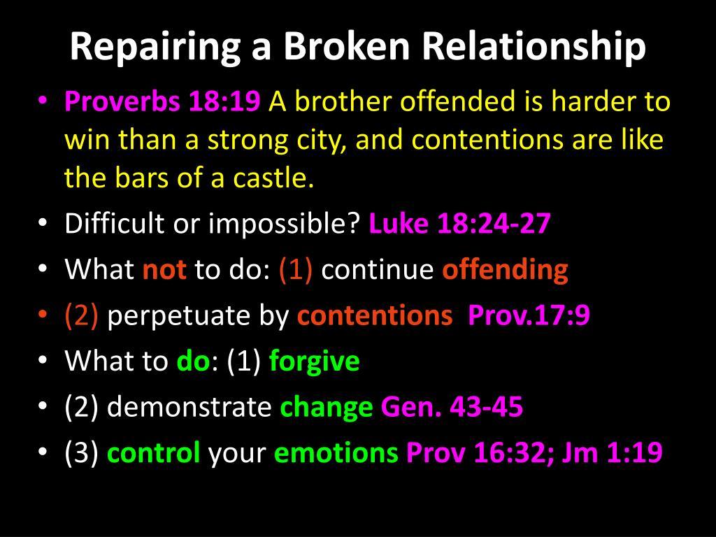 PPT - REPAIRING A BROKEN RELATIONSHIP PowerPoint