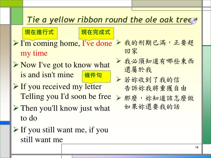 Tie a yellow ribbon round the ole oak tree