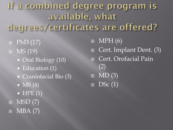 If a combined degree program is available, what degrees/certificates are offered?