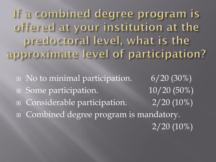 If a combined degree program is offered at your institution at the