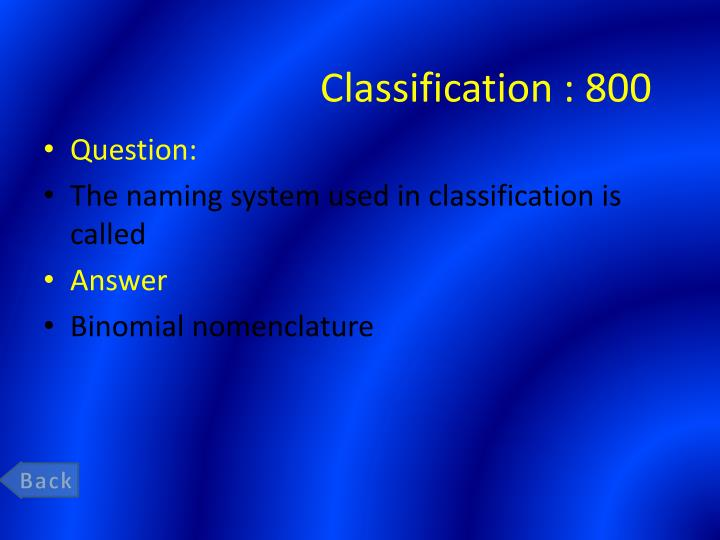 Classification :