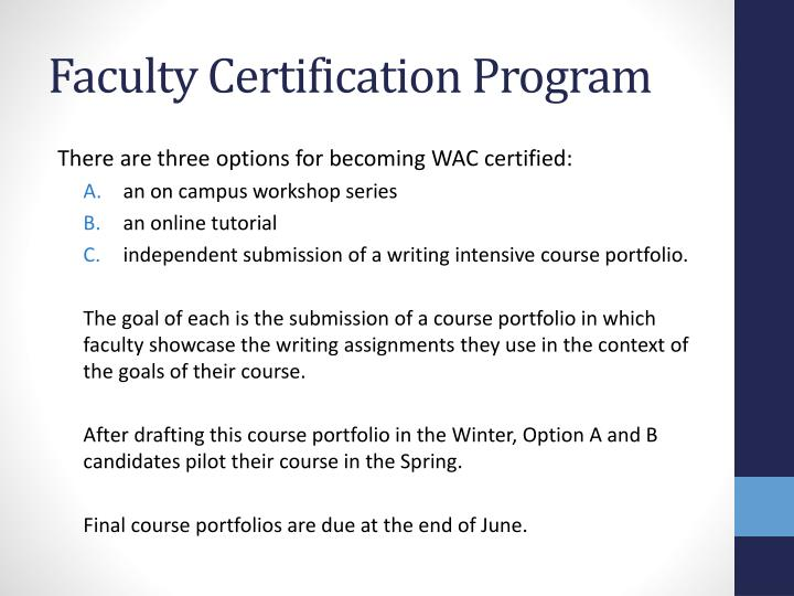 Faculty Certification Program