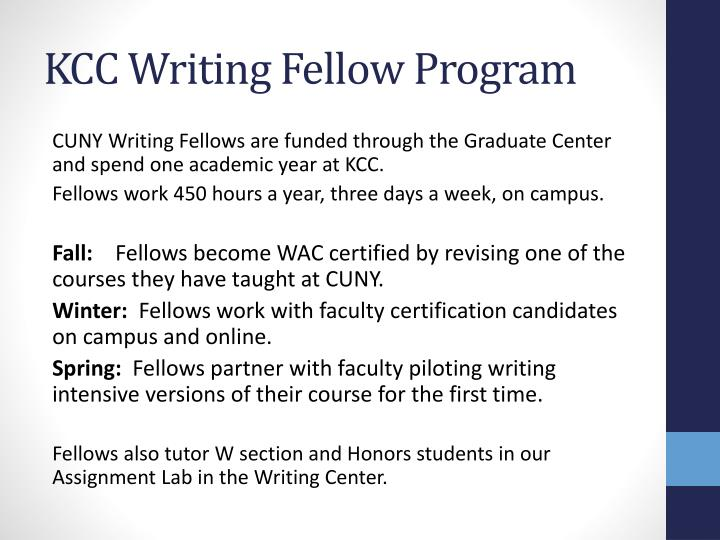 KCC Writing Fellow Program
