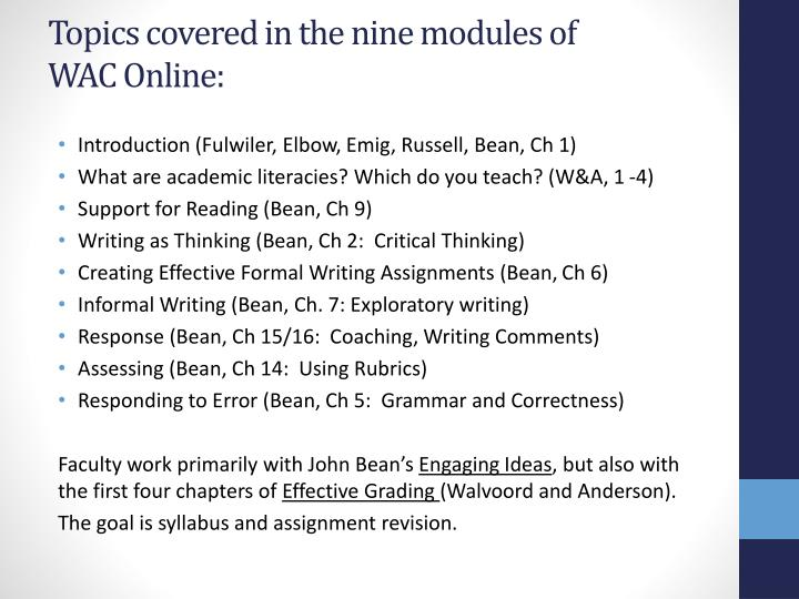 Topics covered in the nine modules of