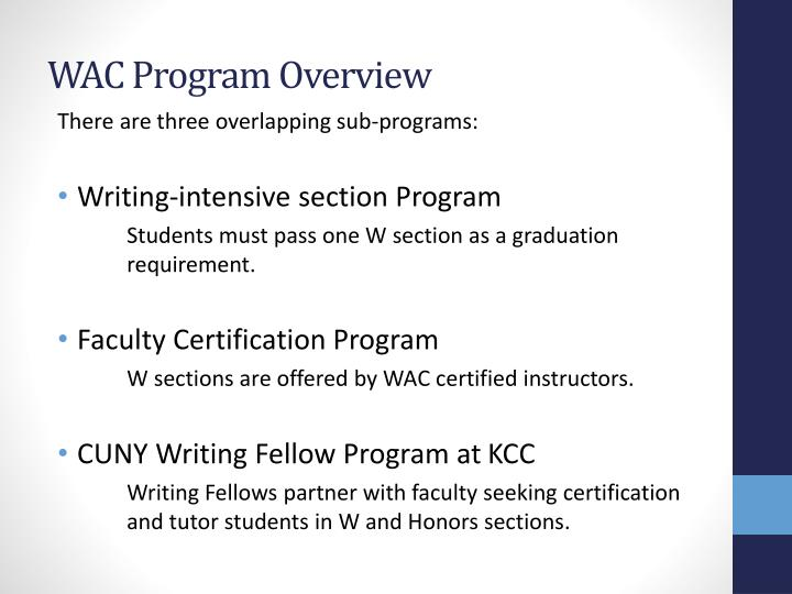 Wac program overview