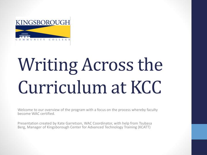Writing across the curriculum at kcc