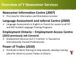 overview of y newcomer services