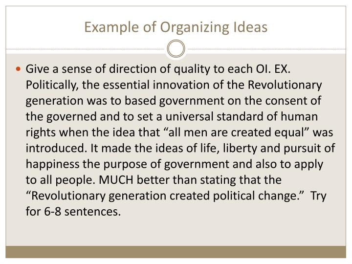 Example of Organizing Ideas