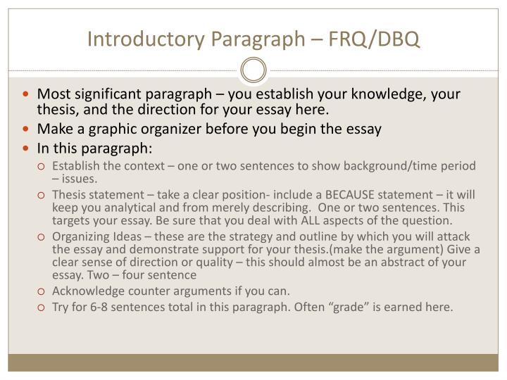 Introductory Paragraph – FRQ/DBQ