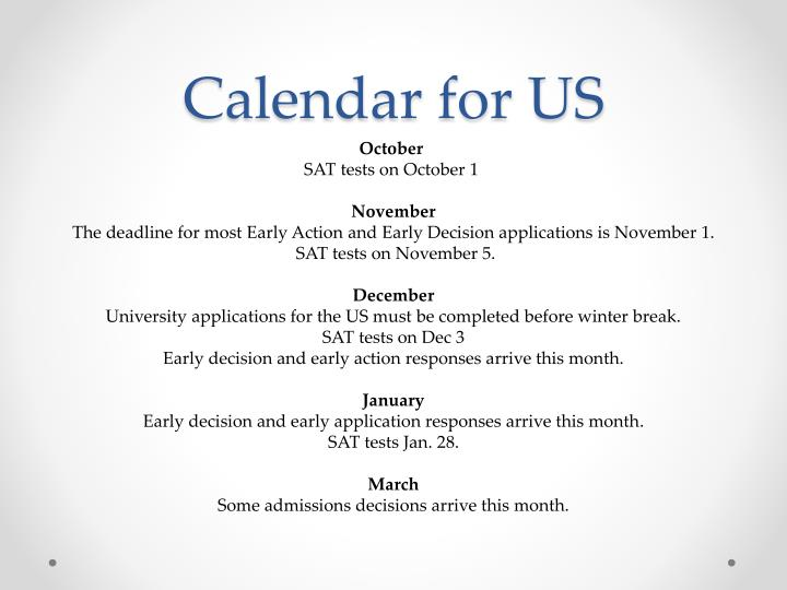Calendar for US