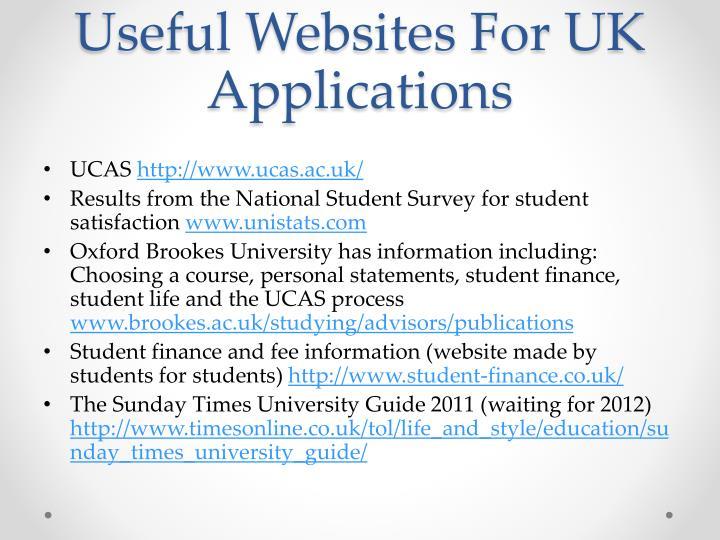 Useful Websites For UK Applications