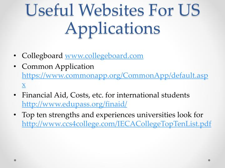 Useful Websites For US Applications