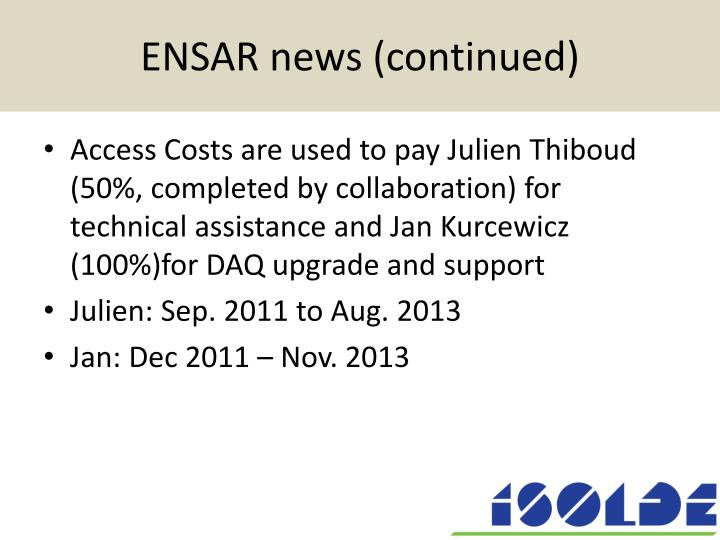 ENSAR news (continued)