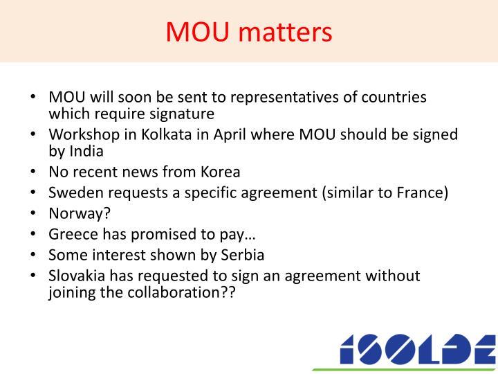 MOU matters