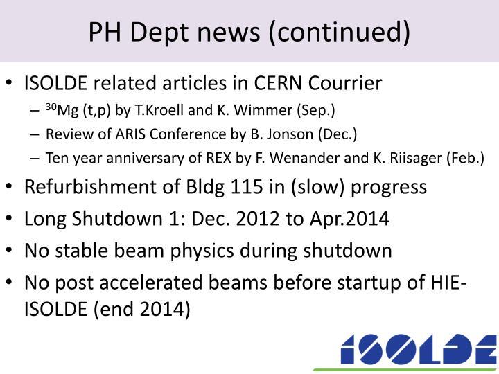 Ph dept news continued