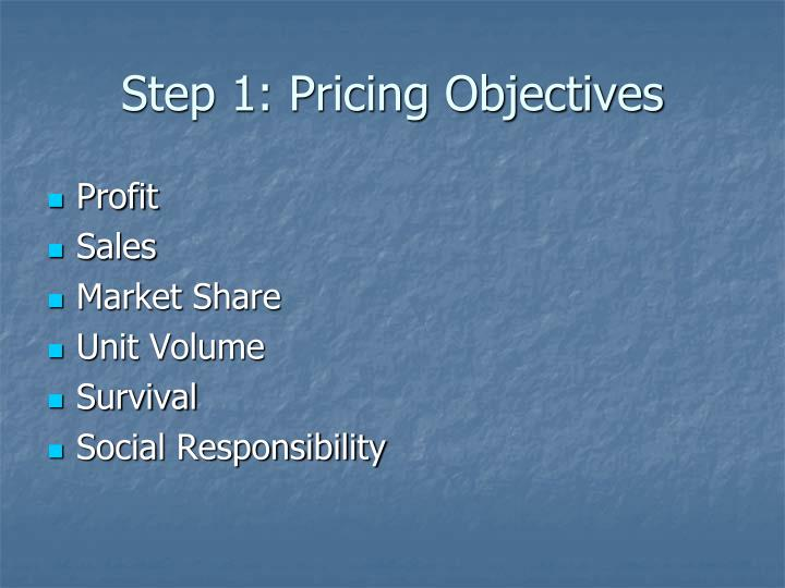 Step 1: Pricing Objectives