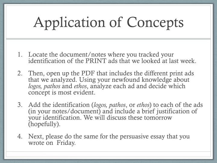 Application of concepts