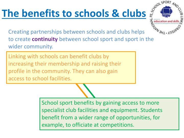 The benefits to schools & clubs