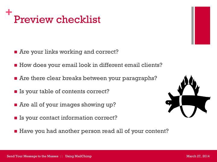 Preview checklist
