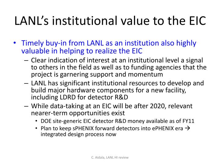 LANL's institutional value to the EIC