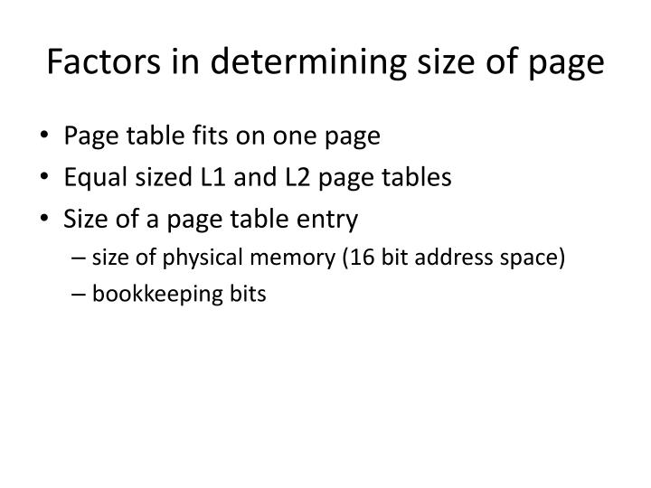 Factors in determining size of page