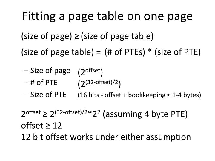 Fitting a page table on one page