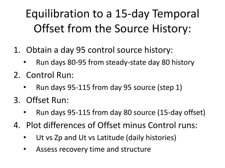 Equilibration to a 15-day Temporal Offset from the Source History: