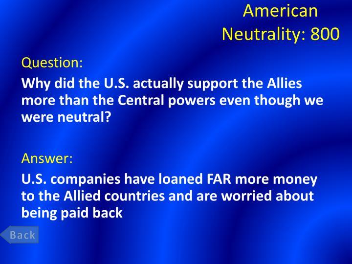 American Neutrality: