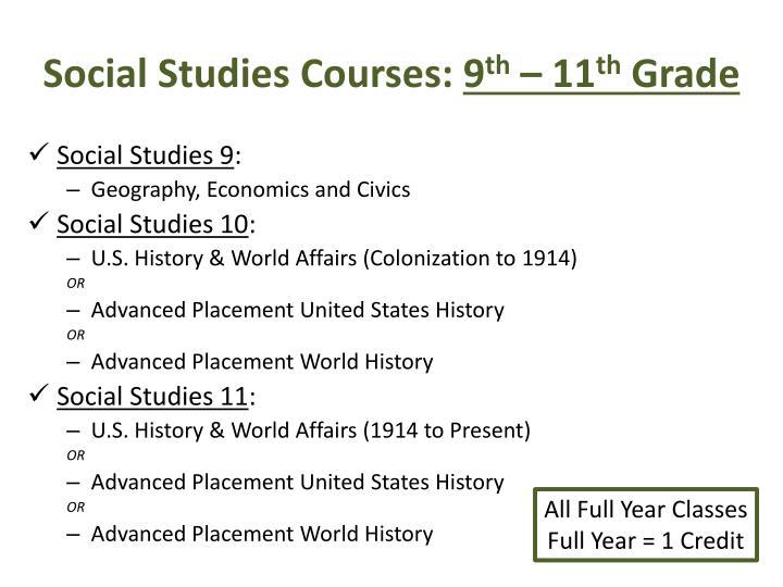 Social studies courses 9 th 11 th grade