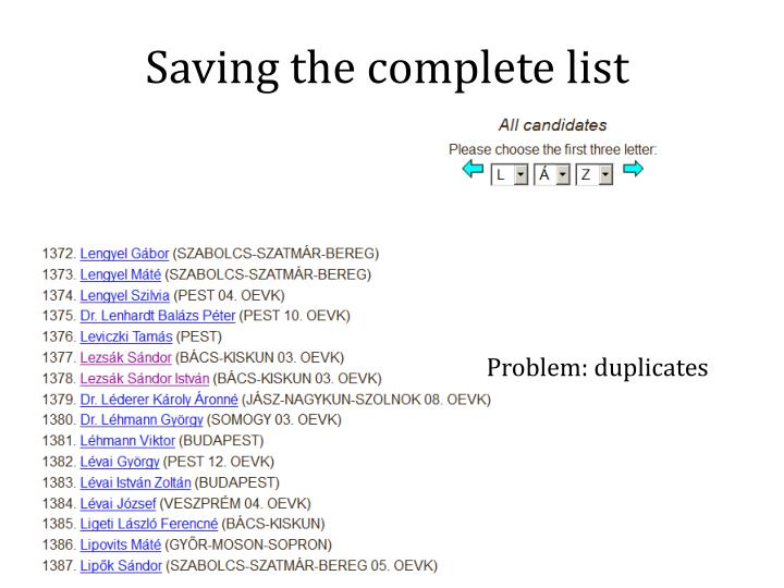 Saving the complete list