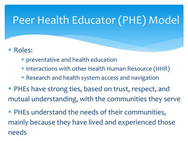 Peer Health Educator (PHE) Model