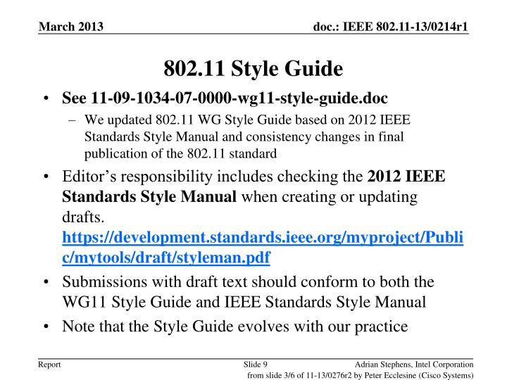 802.11 Style Guide