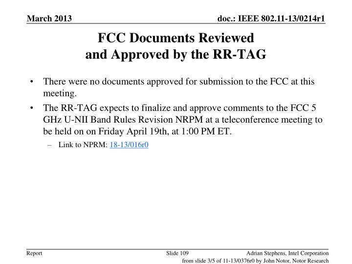 FCC Documents Reviewed