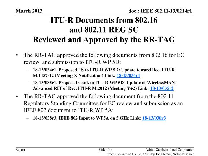 ITU-R Documents from 802.16