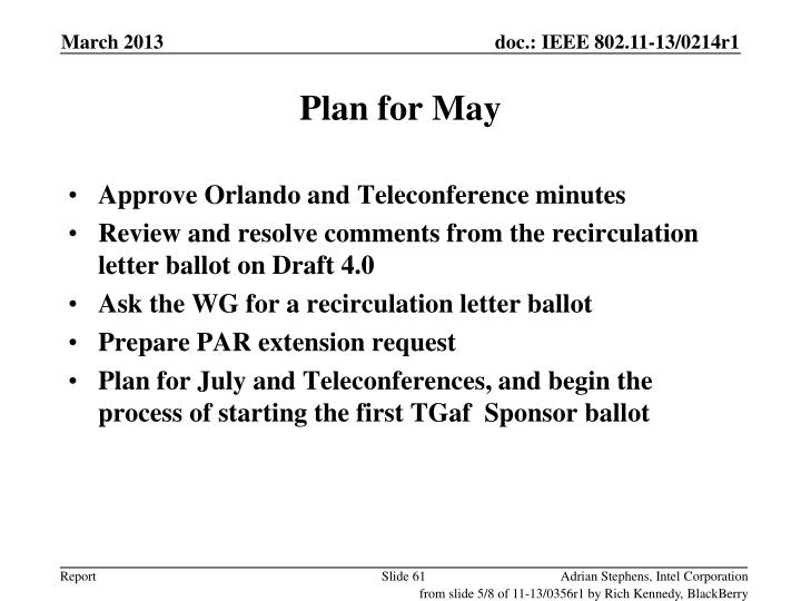 Plan for May
