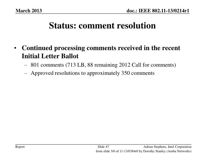 Status: comment resolution