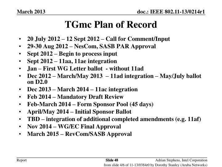 TGmc Plan of Record