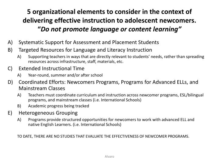 5 organizational elements to consider in the context of delivering effective instruction to adolesce...