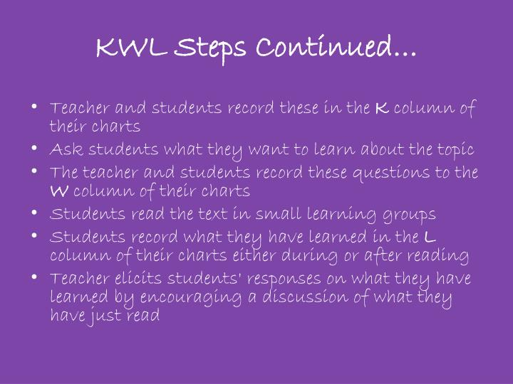 KWL Steps Continued…