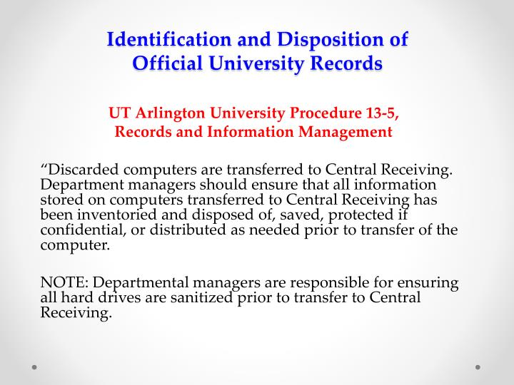 Identification and