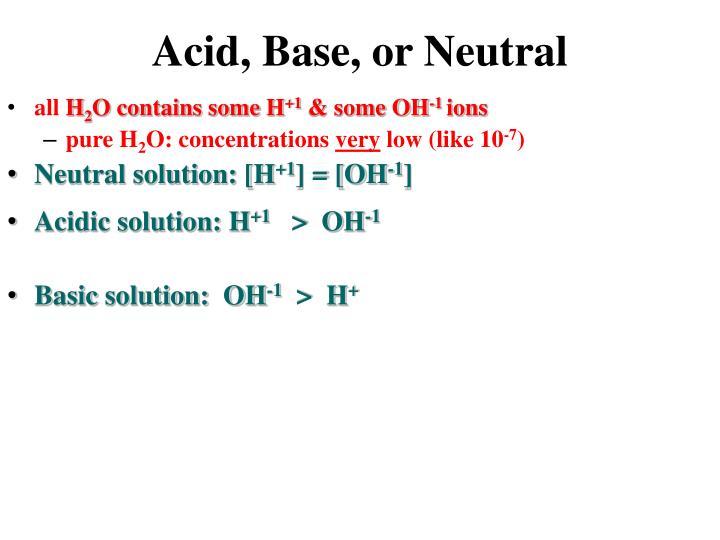 Acid base or neutral