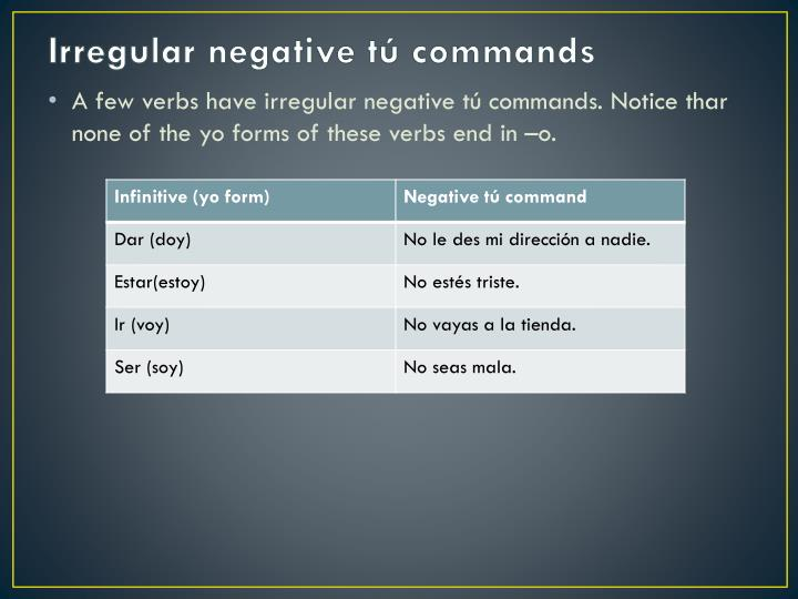 Irregular negative