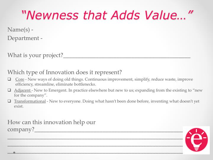 newness that adds value n.