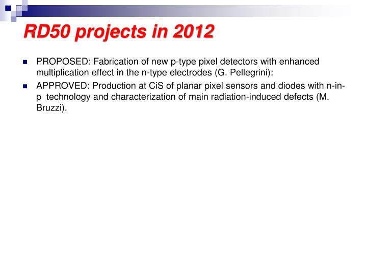 RD50 projects in 2012