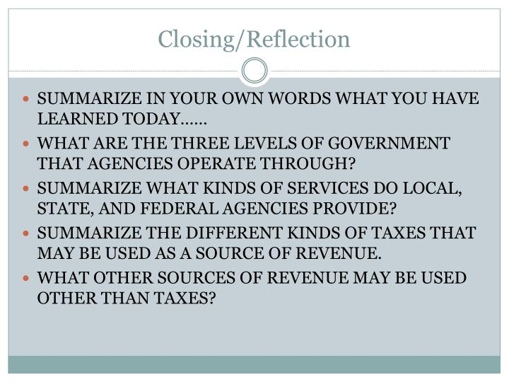 Closing/Reflection