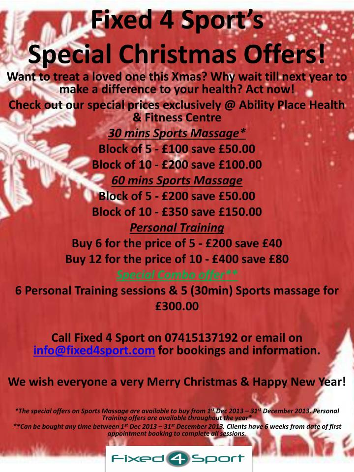 Fixed 4 sport s special christmas offers