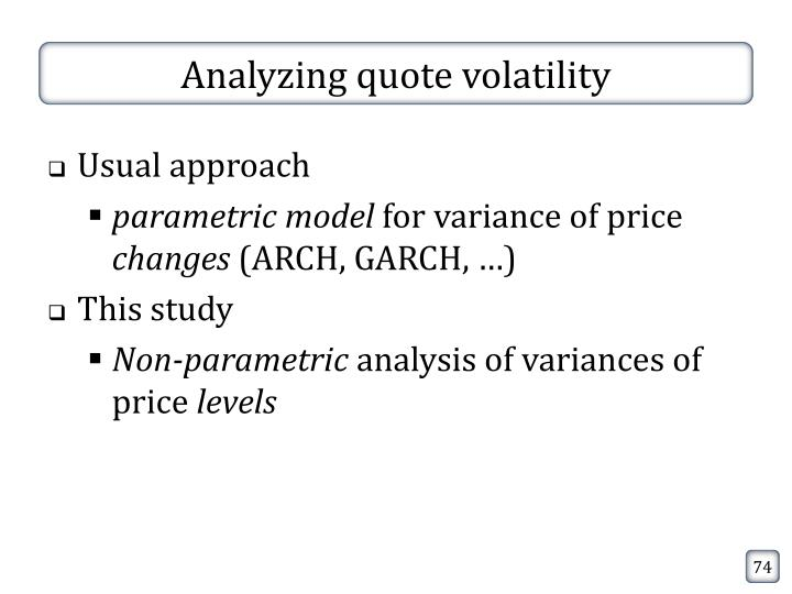 Analyzing quote volatility